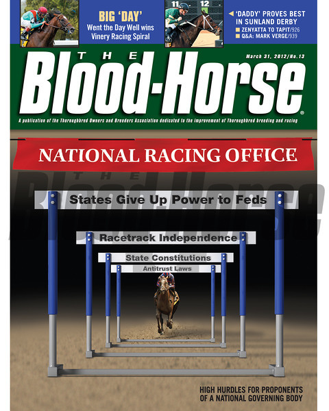 March 31, 2012 Issue 13 Cover of The Blood-Horse.<br /> <br /> © The Blood-Horse