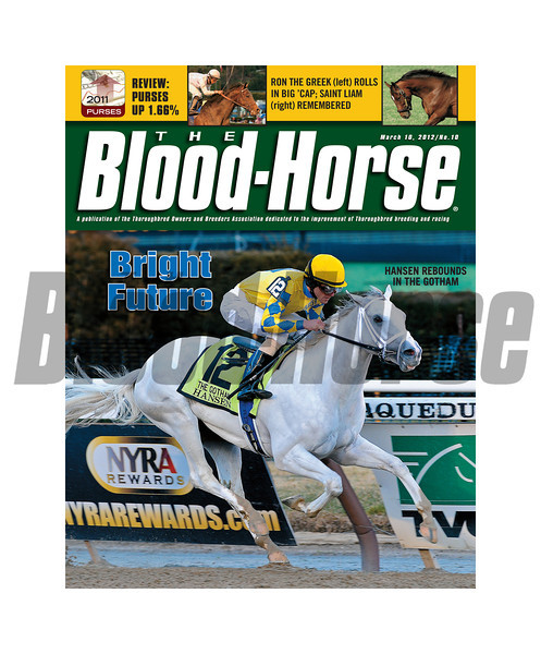 March 10, 2012 Issue 10 cover of The Blood-Horse with Hansen winning the Gotham Stakes.<br /> <br /> © The Blood-Horse