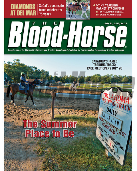 July 21, 2012 Issue 29 Cover of The Blood-Horse with Saratoga's famed training track.<br /> <br /> © The Blood-Horse