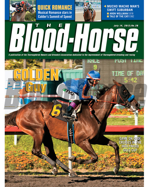 July 14, 2012 Issue 28 Cover of The Blood-Horse with Game on Dude winning the Hollywood Gold Cup.<br /> <br /> © The Blood-Horse