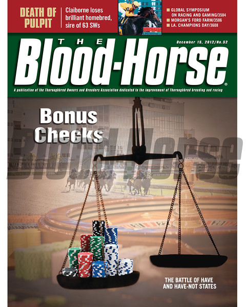 December 15, 2012 Issue 51 Cover of The Blood-Horse featuring a special report on how state programs fueled bu gaming revenue benefit breeders and owners.<br /> © The Blood-Horse