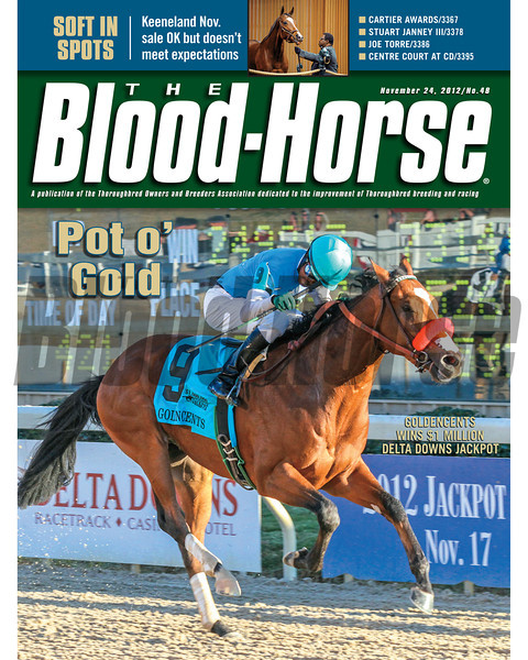 November 24, 2012 Issue 48 Cover of The Blood-Horse featuring Goldencents winning the $1 million Delta Downs Jackpot<br /> <br /> © The Blood-Horse