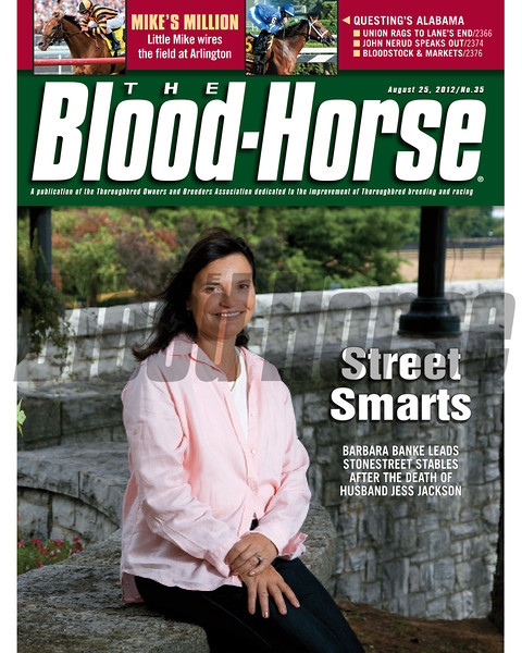 August 25, 2012 Issue 35 Cover of The Blood-Horse with Stonestreet Stables Barbara Banke<br /> <br /> © The Blood-Horse