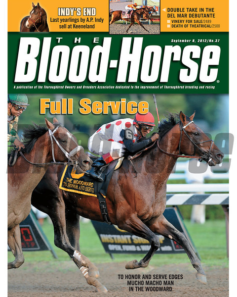 September 8, 2012 Issue 37 Cover of The Blood-Horse featuring To Honor And Serve defeating Mucho Macho Man in the Woodward<br /> <br /> © The Blood-Horse