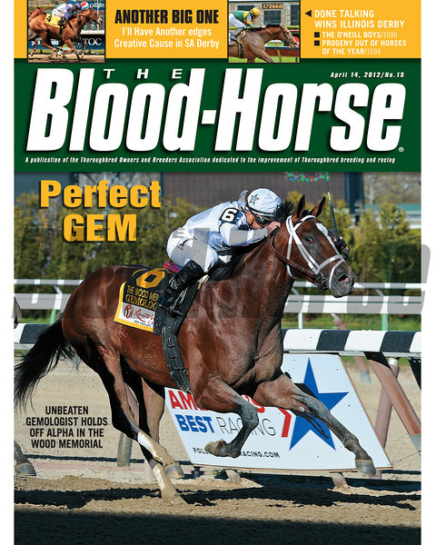 April 14, 2012 Issue 15 Cover of The Blood-Horse with Gemologist winning the Wood Memorial.<br /> <br /> © The Blood-Horse