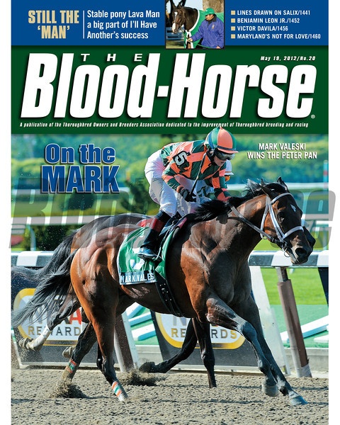 May 19, 2012 Issue 20 Cover of The Blood-Horse Mark Valeski winning the Peter Pan Stakes.<br /> <br /> © The Blood-Horse