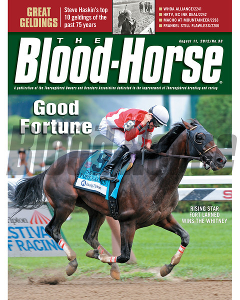 August 11, 2012 Issue 33 Cover of The Blood-Horse with rising star Fort Larned winning the Whitney.<br /> <br /> © The Blood-Horse