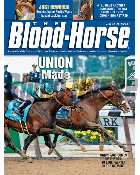 June 16, 2012 Issue 24 Cover of The Blood-Horse with Union Rags winning the 2012 Belmont Stakes.<br /> <br /> © The Blood-Horse