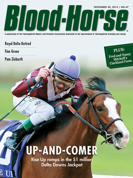 November 30, 2013 Issue 47 cover of The Blood-Horse featuring Rise Up winning the Delta Downs Jackpot