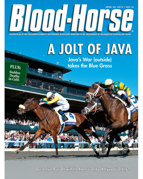 April 20, 2013 Issue 16 Cover of Blood-Horse featuring Java's War winning the Blue Grass Stakes at Keeneland<br /> © Blood-Horse
