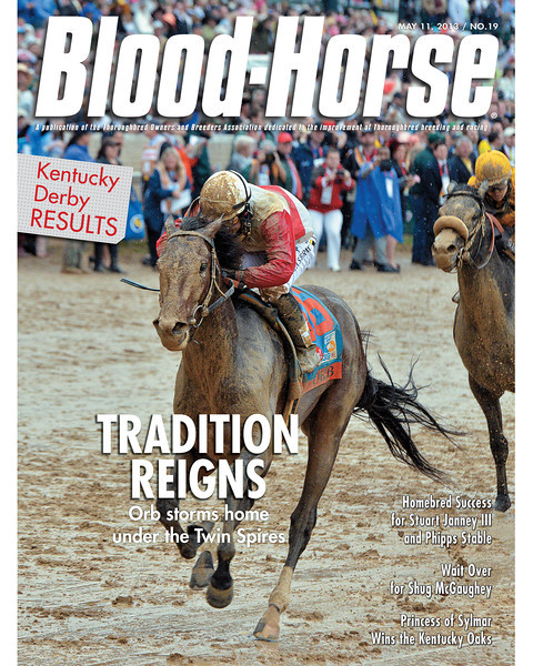 May 11, 2013 Issue 19 Cover of Blood-Horse featuring Orb winning the 139th running of the Kentucky Derby at Churchill Downs<br /> © Blood-Horse