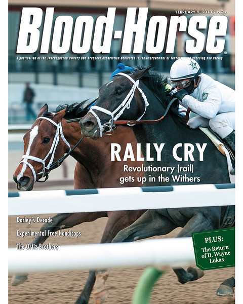 February 9, 2013 Issue 6 Cover of Blood-Horse featuring Revolutionary winning the Withers<br /> © Blood-Horse