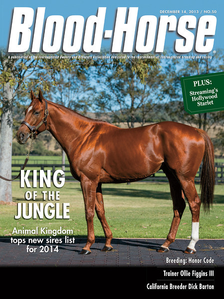 December 14, 2013 Issue 50 cover of the Blood-Horse featuring Animal Kingdom