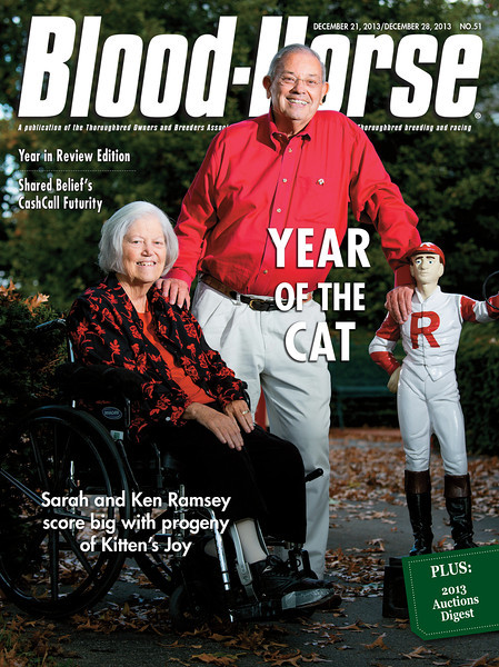 December 21 and 28, 2013 double issue cover of Blood-Horse featuring Ken and Sarah Ramsey