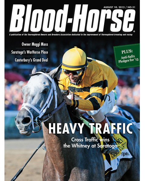 August 10, 2013 Issue 31 Cover of Blood-Horse featuring Cross Traffic winning the Whitney at Saratoga<br /> © Blood-Horse