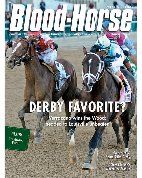 April 13, 2013 Issue 15 Cover of Blood-Horse featuring Verrazano winning the Wood Memorial<br /> © Blood-Horse
