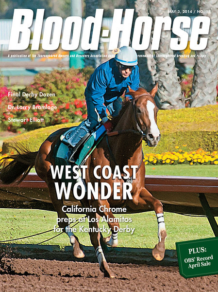 "May 3, 2014 Issue 18 cover of The Blood-Horse.<br /> <br /> Leaps and Bounds: Marathon OBS April sale blows past old marks; gross, average, median soar<br /> Cal Vs. Kentucky: California Chrome is the choice for Kentucky Derby 140<br /> Star Surgeon: Dr. Larry Bramlage is racing's go-to miracle worker<br /> Kentucky's Call: Ten years after Smarty Jones, Stewart Elliott brings his talents to the Bluegrass<br /> PLUS Steve Haskin's final Derby Dozen!<br /> <br /> Buy this issue: <a href=""http://shop.bloodhorse.com/collections/the-blood-horse-single-issue-pdf/products/the-blood-horse-may-3-2014-pdf"">http://shop.bloodhorse.com/collections/the-blood-horse-single-issue-pdf/products/the-blood-horse-may-3-2014-pdf</a>"
