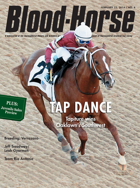 "February 22, 2014 Issue 8 cover of The Blood-Horse <br /> Tap Dance - Tapiture wins Oaklawn's Southwest<br /> Also in this issue:     <br /> Fresh Start: A look at the market for first-crop 2-year-old sires of 2014<br /> Opportunity Knocks: Optimism is high heading into the select 2-year-old selling season<br /> Dynamic Duo: Leah Gyramati, Jeff Treadway on the trails toward both the Oaks and Derby<br /> Swinging Away: Owner Ron Paolucci, trainer Jeremiah Englehart swing for the fences with Ria Antonia<br /> Buy this issue: <a href=""http://shop.bloodhorse.com/collections/current-issue/products/the-blood-horse-feb-22-2014-pdf"">http://shop.bloodhorse.com/collections/current-issue/products/the-blood-horse-feb-22-2014-pdf</a>"