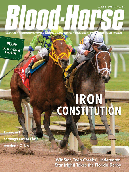 "April 5, 2014 Issue 14 cover of The Blood-Horse.<br /> <br /> Iron Constitution: WinStar, Twin Creek's undefeated star takes the Florida Derby<br /> Dubai World Cup: Evening of global racing at Meydan ends with African Story<br /> Q&A with Madeline Auerback: Breeder/owner is newest commissioner for the California Horse Racing Board<br /> Saratoga Struggles over Casino Expansion: Town is split on potential 'destination casino'<br /> Getting the Picture: Racing is behind the curve in converting to High Definition<br /> Midwest/Canada: Kela and Stillwater Equine Clinic<br /> <br /> Buy this issue: <a href=""http://shop.bloodhorse.com/collections/the-blood-horse-single-issue-pdf/products/the-blood-horse-april-5-2014-pdf"">http://shop.bloodhorse.com/collections/the-blood-horse-single-issue-pdf/products/the-blood-horse-april-5-2014-pdf</a>"