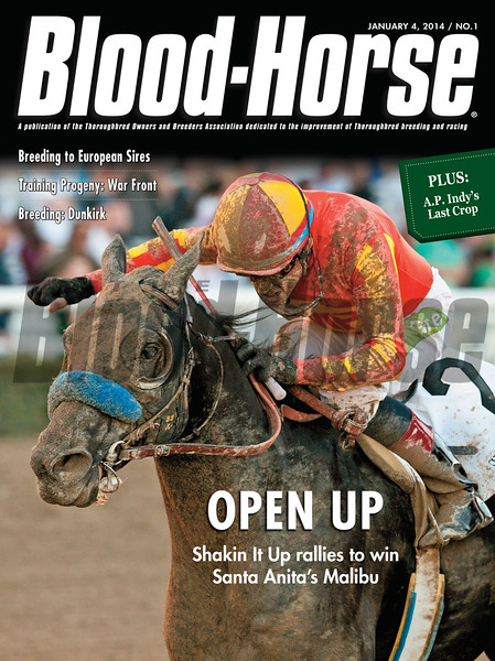 January 4, 2014 Issue 1 cover of The Blood-Horse featuring Shakin It Up winning the Malibu Stakes at Santa Anita Park.