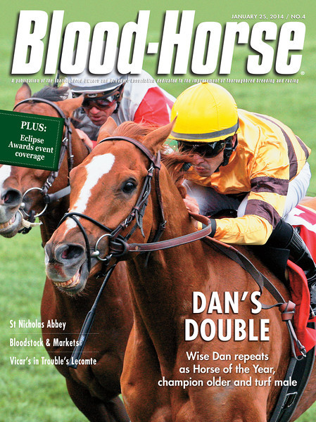 January 25, 2014 Issue 4 cover of The Blood-Horse featuring 2012 and 2013 Horse of the Year Wise Dan