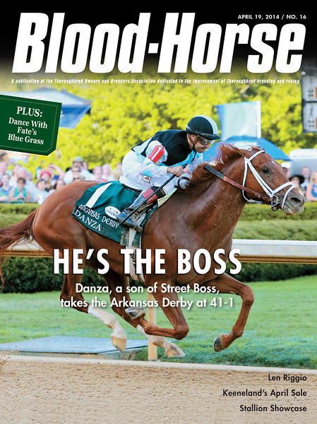 "April 19, 2014 Issue 16 cover of The Blood-Horse.<br /> <br /> He's the Boss: Danza, a son of Street Boss, takes the Arkansas Derby at 41-1<br /> Noble in New York: Samraat rewards Len Riggio for his belief in Noble Causeway<br /> Big Ticket: A half brother to Tapit brings $1 million at Keeneland's April sale, but only 38 juveniles change hands<br /> Inside MarketWatch: Secretariat Syndrome: projecting a broodmare sire's final AEI<br /> Stallion Showcase: A special section of stallion listings <br /> <br /> Buy this issue: <a href=""http://shop.bloodhorse.com/collections/the-blood-horse-single-issue-pdf/products/the-blood-horse-april-19-2014-pdf"">http://shop.bloodhorse.com/collections/the-blood-horse-single-issue-pdf/products/the-blood-horse-april-19-2014-pdf</a>"
