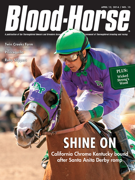 "April 12, 2014 Issue 15 cover of The Blood-Horse.<br /> <br /> Shine On: California Chrome Kentucky bound after Santa Anita Derby romp<br /> Rising Creeks: From humble origins Twin Creeks Farm is cresting<br /> Prince of a Sire: Princequillo rises from modest beginnings to breeding royalty<br /> Little House Party: Prairie Meadows turns 25<br /> Minor Step Back: Gross up at Fasig-Tipton Texas sale, average down<br /> Northeast: Andrew Cohen and Frost Giant <br /> <br /> Buy this issue: <a href=""http://shop.bloodhorse.com/collections/the-blood-horse-single-issue-pdf/products/the-blood-horse-april-12-2014-pdf"">http://shop.bloodhorse.com/collections/the-blood-horse-single-issue-pdf/products/the-blood-horse-april-12-2014-pdf</a>"