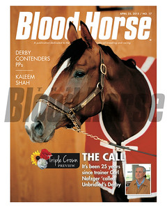 April 25, 2015 Issue 17 cover of Blood-Horse featuring Unbridled