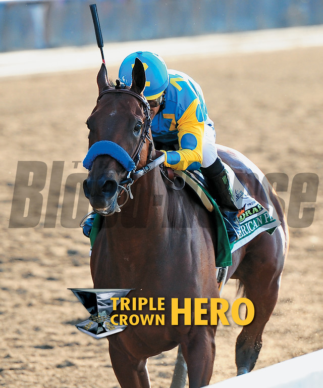 June 13, 2015 cover of the Blood-Horse featuring American Pharoah winning the Belmont Stakes.