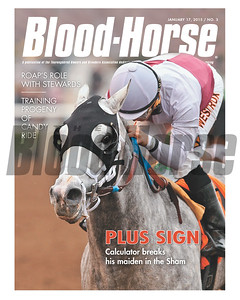 January 17, 2015 Issue 3  cover of the Blood-Horse featuring Caculator winning the Sham Stakes at Santa Anita Park.