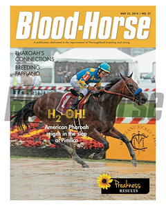 May 23, 2015 Issue 21 cover of Blood-Horse featuring American Pharoah and jockey Victor Espinoza winning the Preakness Stakes at Pimlico.