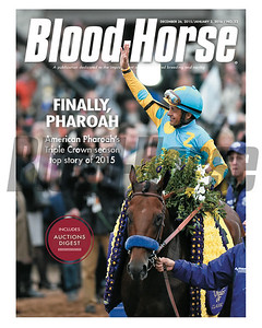 December 26, 2015 and January 2, 2016 Double Issue Cover of Blood-Horse featuring American Pharoah and jockey Victor Espinoza after winning the Breeders' Cup Classic