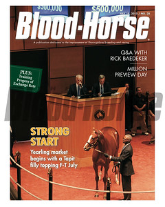 July 18, 2015 Issue 28 cover of the Blood-Horse featuring Hip 317 at the 2015 Fasig-Tipton July Sale.