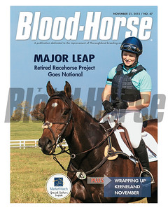 November 21, 2015 Issue 47 cover of the Blood-Horse featuring Dare Me & Rosie Napravnik at he Thoroughbred Makeover and National Symposium at the Kentucky Horse Park on October 23, 2015.
