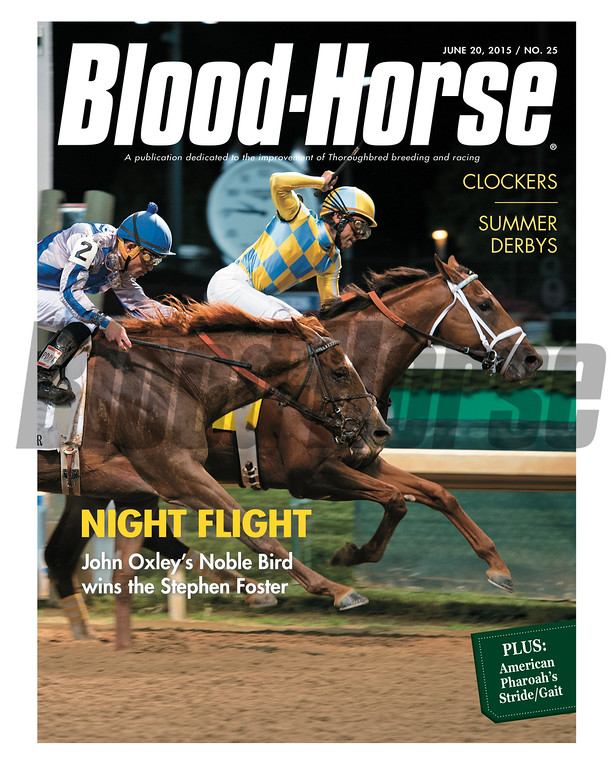 June 20, 2015 Issue 25 cover of the Blood-Horse featuring Noble Bird winning the Stepehen Foster Handicap at Churchill Downs.
