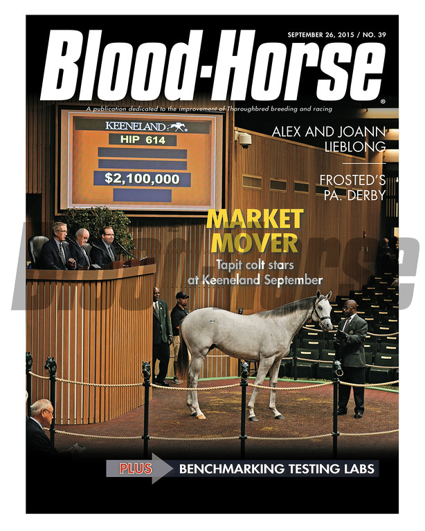 September 26, 2015 Issue 39 cover of the Blood-Horse featuring Hip 614 at the 2015 Keeneland September Sale