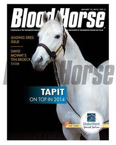 January 10, 2015 Issue 2 cover of the Blood-Horse featuring Tapit at Gainesway Farm