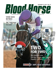 September 12, 2015 Issue 37 cover of Blood-Horse featuring Nyquist winning the Del Mar Futurity.