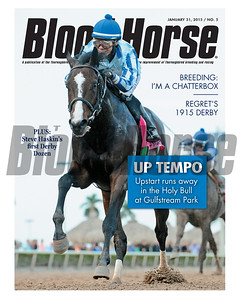 January 31, 2015 Issue 5 cover of the Blood-Horse featuring Upstart winning the Holy Bull at Gulfstream Park.