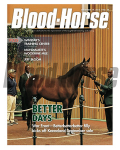 September 19, 2015 Issue 38 cover of the Blood-Horse featuring Hip 116 War Front - Betterbetterbetter filly at the 2015 Keeneland September Sale