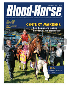 January 3, 2015 Issue 1 cover of Blood-Horse featuring leading breeders Sam-Son Farm