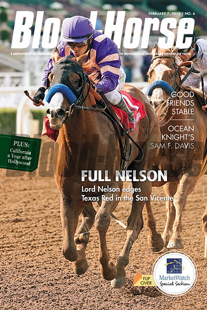 February 7, 2015 Issue 6 cover of the Blood-Horse featuring Lord Nelson winning the San Vicente at Santa Anita Park.