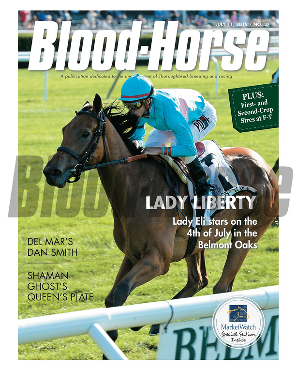 July 11, 2015 Issue 27 cover of Blood-Horse featuring Lady Eli winning the Belmont Oaks at Belmont Park.