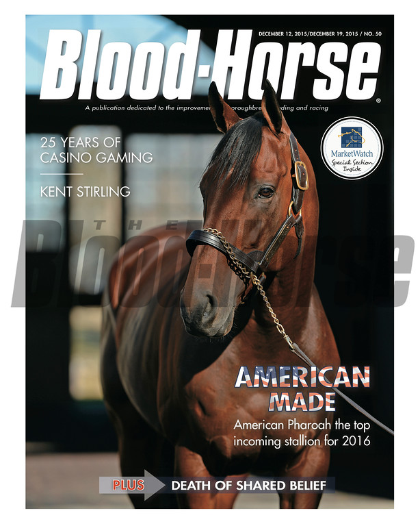 December 12 and 19, 2015 Double Issue cover of Blood-Horse featuring American Pharoah