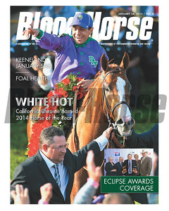 January 24, 2015 Issue 4 cover of the Blood-Horse featuring 2014 Horse of the Year California Chrome