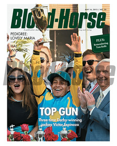 May 16, 2015 Issue 20 cover of the Blood-Horse featuring jockey Victor Espinoza after winning the 2015 Kentucky Derby at Churchill Downs aboard American Pharoah.