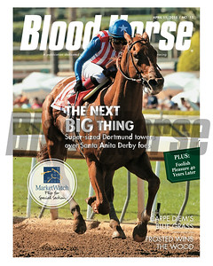 April 11, 2015 Issue 15 cover of the Blood-Horse featuring Dortmund winning the Santa Anita Derby.
