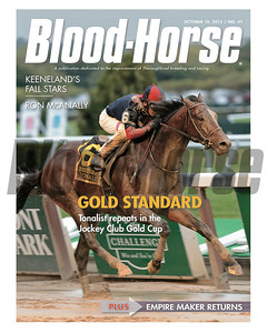 October 10, 2015 Issue 41 cover of the Blood-Horse featuring Tonalist winning the Jockey Club Gold Cup at Belmont Park.