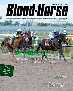 February 28, 2015 Issue 9 cover of the Blood-Horse featuring Itsaknockout #5 winning the Fountain of Youth Stakes at Gulfstream Park after Upstart was disqualified.