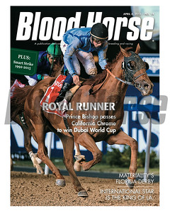 April 4, 2015 Issue 14 cover of the Blood-Horse featuring Prince Bishop winning the Dubai World Cup.